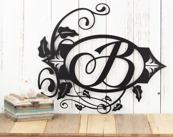 "Monogram Sign | Metal Sign | Personalized Sign | Outdoor Sign | Metal Wall Art | Wedding Sign | 15.5""W x 13.25""H 