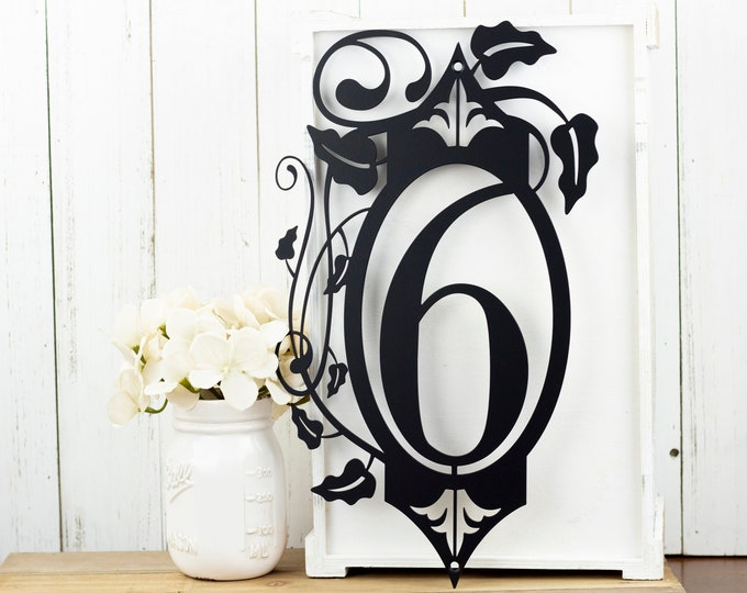 Vertical Outdoor House Number Metal Sign - 1 Digit, Black, 9.15x15.8,  Address Plaque, Outdoor Sign,  House Number