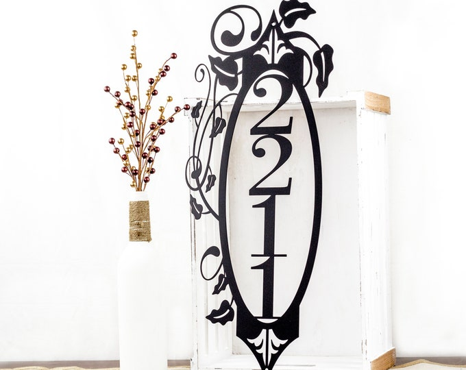 Vertical House Number   Metal Sign   Outdoor Sign   Metal Wall Art   Custom Sign   House Numbers   Metal Address Sign