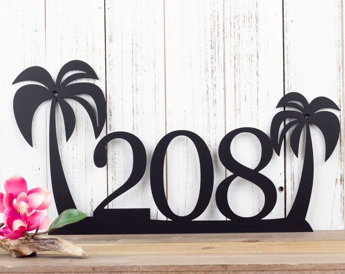 Palm Tree Metal House Number | Custom Metal Sign | House Number Sign | Metal Wall Art | Outdoor Sign | Outdoor Address
