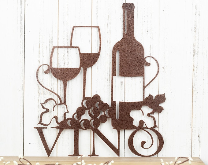 "Wine Wall Decor | Vino Sign with Grapevines | Wine Lover Gift | Wine Sign Bar | Wine Signs for Kitchen | Copper Vein shown | 13""x15"""