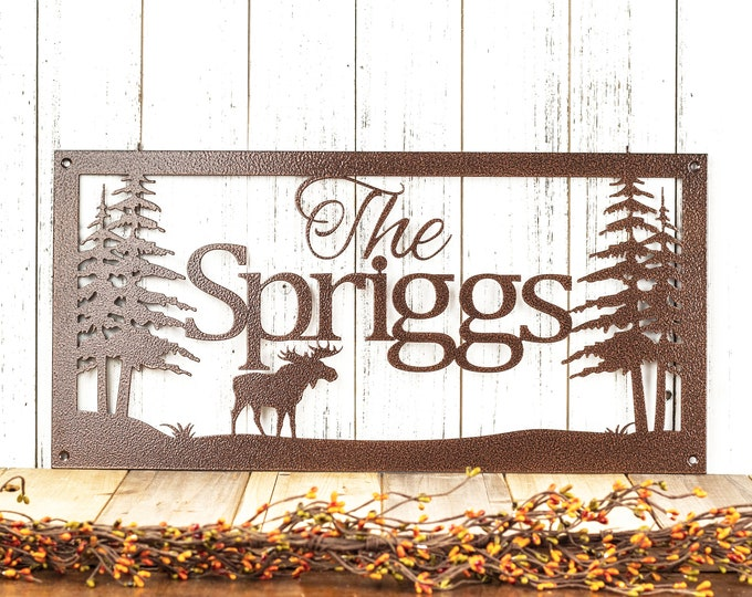 Custom Name Metal Sign | Family Name | Personalized Sign | Outdoor Sign | Name Sign | Metal Wall Art | Family Sign | Moose