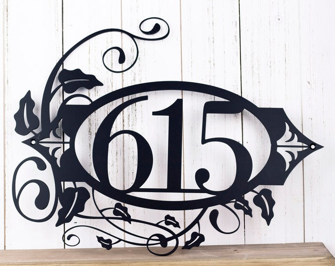 "Metal Address Plaque | House Numbers | Outdoor Address Sign with Fleur de lis | Metal Wall Art with Vines | Matte Black shown | 17""x13"""