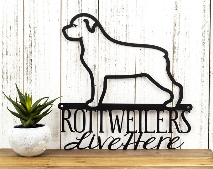 Rottweiler Metal Sign, Outdoor Wall Hanging in Laser Cut Steel, Dog Mom Gift, German, Dog House Sign, Pet Decor, Dog Breed, 12in x 11.75in