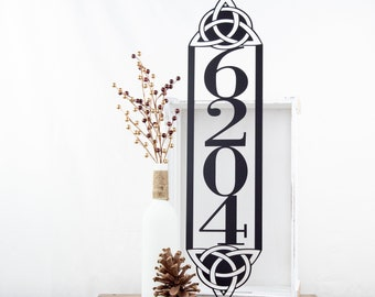 Celtic Knot Vertical House Number Sign | Metal Sign | Custom Metal Sign | Outdoor Address | Address Numbers | Metal Wall Art