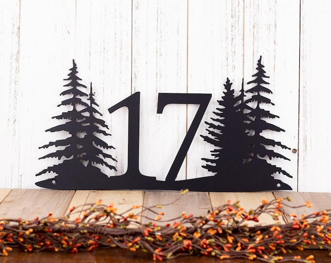 Custom Pine Trees House Number Metal Sign - 2 Digit, Black, 15x8, Pine Tree, Address Plaque, Outdoor Sign, House Number