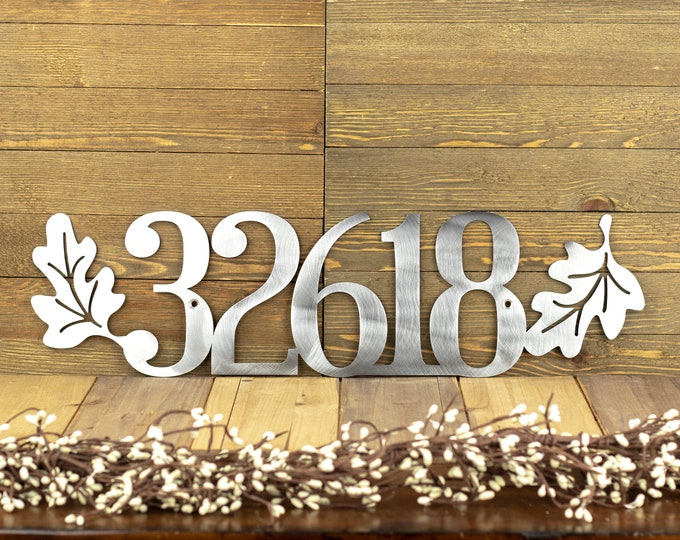 House Number Plaque with Oak Leaves | Metal House Numbers | Custom Metal Sign | Address Plaque | 5 Digit | Laser Cut Sign | Raw Steel shown