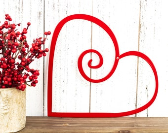 Heart Metal Wall Art - Red, 9x8, Metal Wall Art, Wall Art, Outdoor Metal Wall Art, Heart, Garden Decor, Outdoor Wall Art