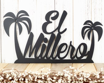 "Palm Tree Custom Name Sign | Metal Wall Art | Beach Decor | Outdoor Sign | Metal Sign | Custom Sign | 18""W x 9.5""H 