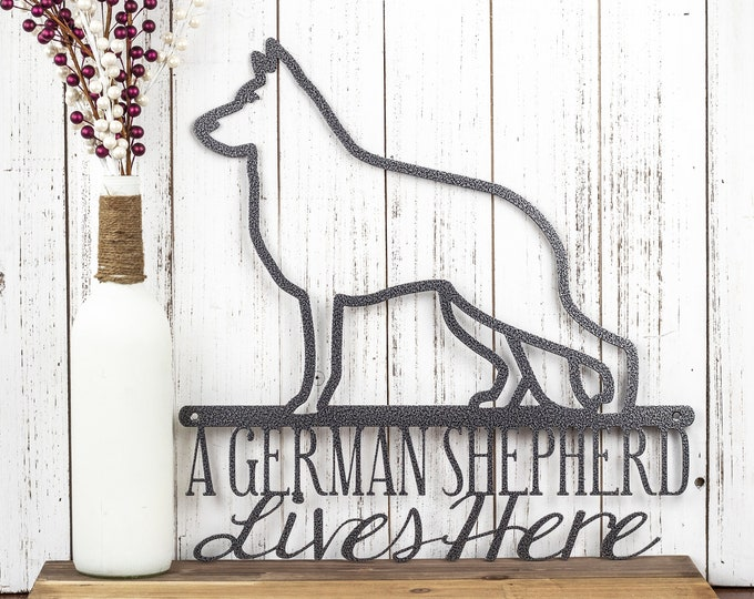 "German Shepherd Metal Sign | Metal Wall Art | Metal Wall Decor | Dog Sign | Dog Decor | Steel | Pet Sign | 16""W x 16""H 