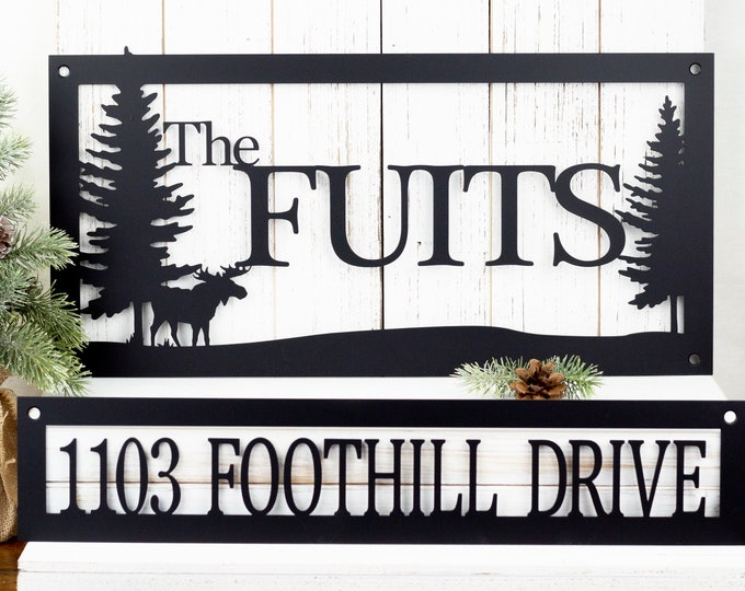Custom Family Name and Address Metal Signs - Black, Moose, Outdoor Sign, Custom Sign, Address Sign, Name Sign