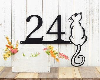 "Custom Sign | House Number | Metal Sign | Cat | 14""W x 11.25""H 
