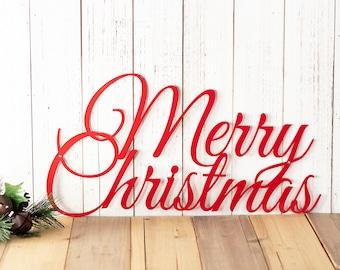 Merry Christmas Sign | Metal Wall Art | Farmhouse Christmas | Christmas Decor | Laser Cut Metal Sign | Holiday Decor | Rustic Christmas