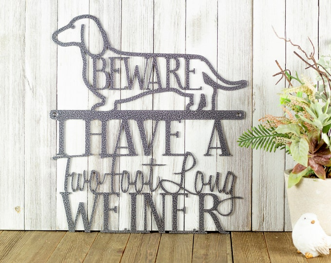 I Have a Two Foot Long Weiner Dachshund Dog Metal Wall Art
