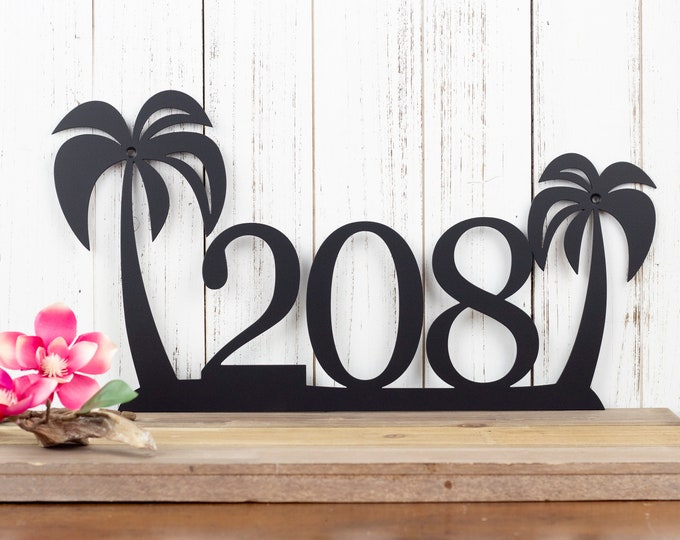 Palm Tree Metal House Number | Custom Metal Sign | House Number Sign | Metal Wall Art | Outdoor Sign | Outdoor Address