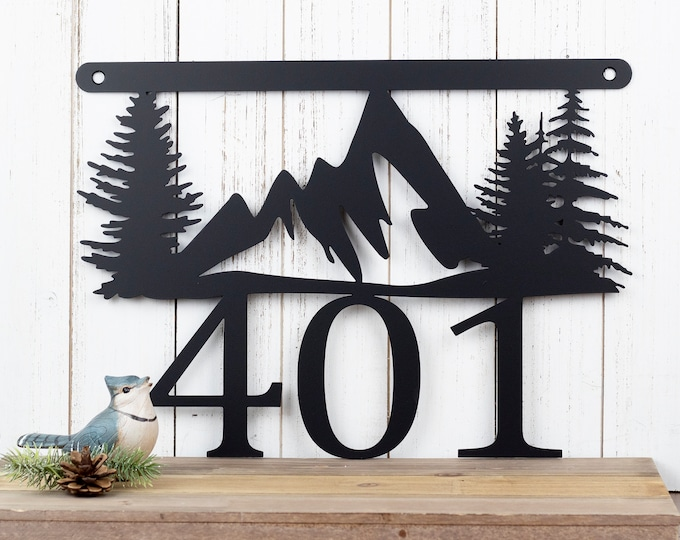 Mountain Metal House Number Sign | Metal Sign | Outdoor Sign | House Numbers | Address Plaque | Address Sign | Custom Sign
