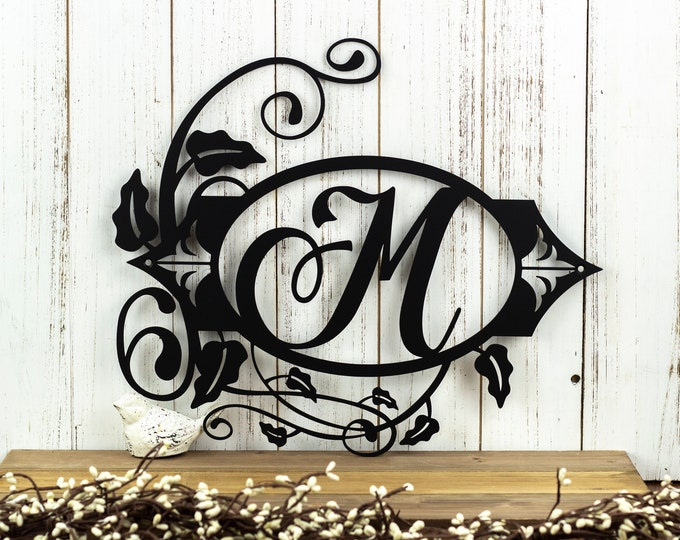 Metal Family Sign | Vine Monogram | Flourish Monogram | Outdoor Metal Wall Art | Personalized Sign | Laser Cut Sign | Matte Black shown