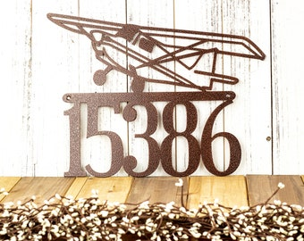 Airplane House Number Metal Sign / Aviation / Metal Wall Art / Pilot Gift / Address Sign / Address Plaque / example: Copper Vein, 5 Digit