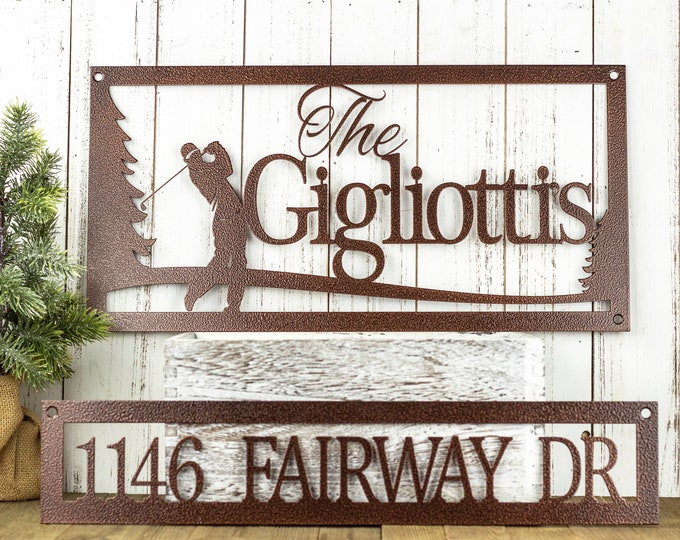 Golf Family Last Name Metal Sign with Outdoor Address Plaque, perfect Custom and Personalized Fathers Day or Golf Gift