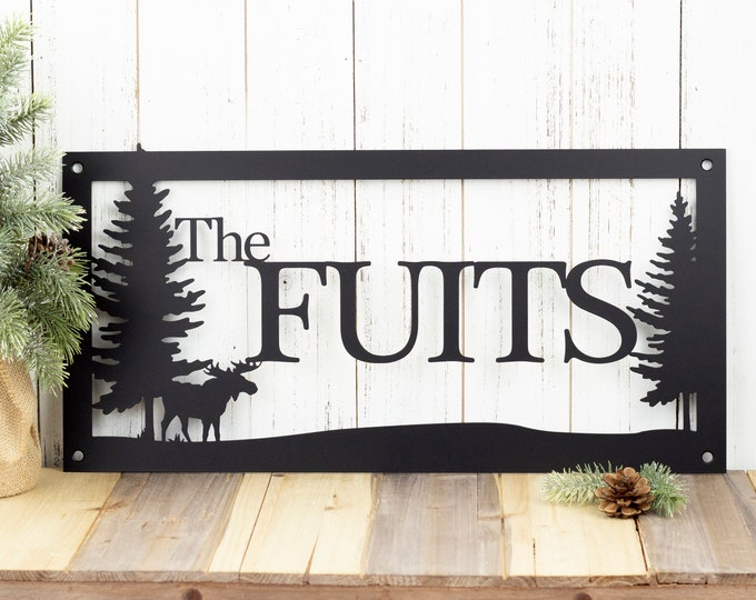 Custom Outdoor Family Last Name Metal Sign with Pine Trees  - Black, Moose, 20x10, Custom Sign, Name Sign, Metal Art