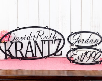 Custom Metal Family Name Sign Established in Laser Cut Steel, Outdoor Oval Metal Wall Art Perfect for a Family Gift, Matte Black shown