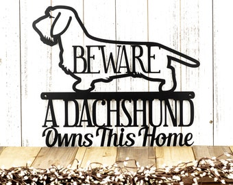 Wire Haired Dachshund Owns This Home Metal Sign - Black, 17x14.5, Weiner Dog, Outdoor Sign, Door Sign, Dachshund Gift