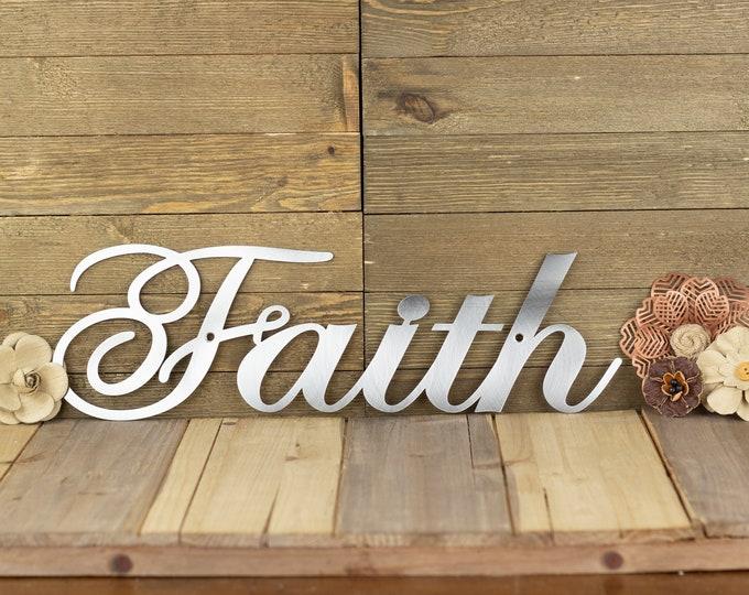 Faith Sign | Steel Signs | Metal Word Art | Christian Wall Art | Farmhouse Decor | Rustic Home Decor | Laser Cut Sign | Raw Steel shown