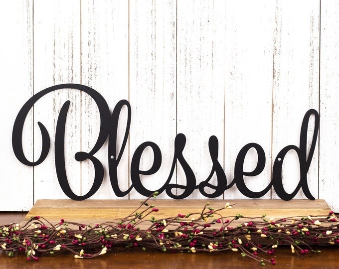 Blessed Sign | Metal Wall Art | Family Sign | Wall Decor | Farmhouse Sign | Thankful Sign | Gratitude | Laser Cut Metal | Matte Black shown