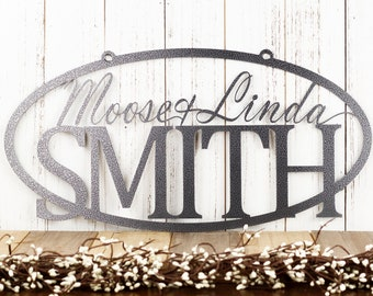 Custom Family Name Sign   Custom Name Sign   Personalized Sign   Wedding Gift   Name Sign   Metal Wall Art   Outdoor Sign