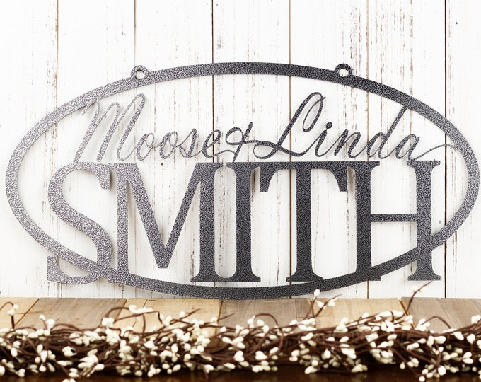 Custom Family Name Sign | Custom Name Sign | Personalized Sign | Wedding Gift | Name Sign | Metal Wall Art | Outdoor Sign