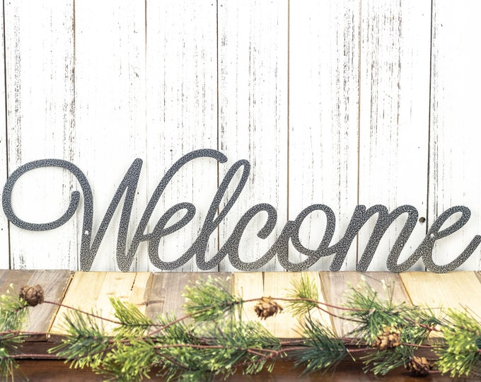 Welcome Script Metal Sign - Silver, 22x5.5, Word Art, Wall Decor, Door Signs, Door Decorations, Welcome, Plaques