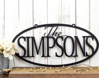 Custom Family Last Name Metal Sign   Metal Wall Art   Outdoor Sign   Custom Name Sign   Custom Sign   Personalized Sign   Oval