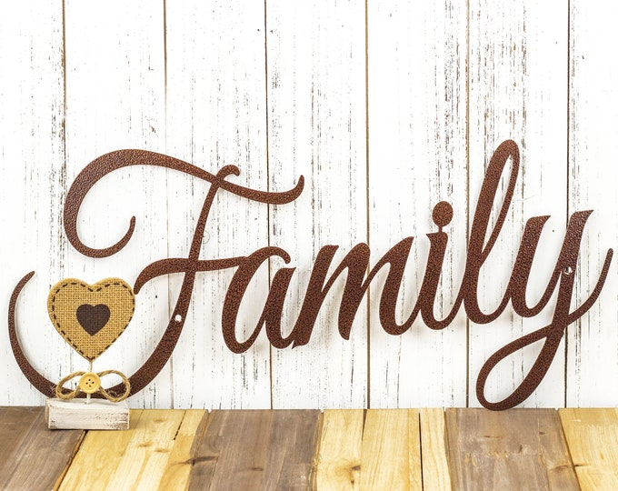 Metal Family Sign | Metal Word Art | Steel Signs | Wall Hanging | Rustic Home Decor | Outdoor Signs | Laser Cut Sign | Copper Vein shown