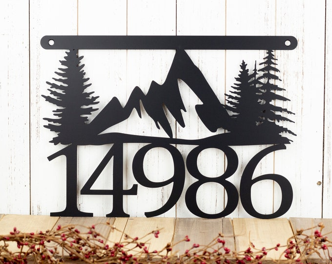 """House Number Plaque with Mountains and Pine Trees 