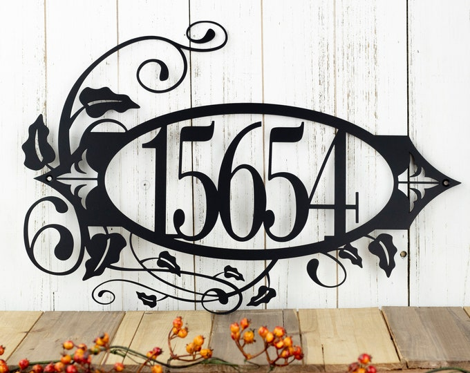 Custom Outdoor House Number Metal Sign - 5 Digit, Black, 19.8x13.15, Metal Wall Art, Address Sign, Custom Sign