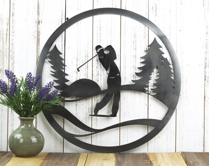 Golfer Metal Wall Decor | Golf | Gift For Him | Golf Gift | Golfer Gift | Outdoor Sign | Golf Art | Metal Sign | Fathers Day Gift | Dad Gift