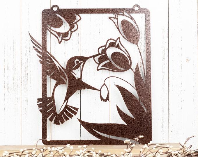 Hummingbird Garden Metal Sign | Garden Decor | Metal Art | Garden Sign | Metal Garden Decor | Flowers | Garden Yard Art | Sign | Metal Decor