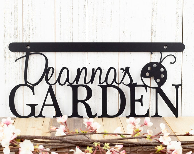 Custom Garden Name Sign | Wall Decor | Garden Sign | Gift For Her | Wall Hanging | Metal Sign | Metal Wall Art | Metal Wall Decor | Ladybug