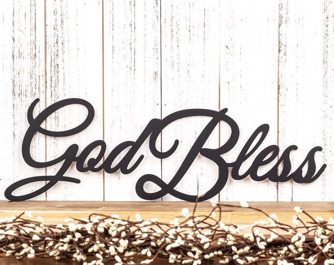 God Bless Metal Sign - Black, 18x6, God Bless, Metal Sign, Religious, Spiritual, Sign, Outdoor Sign, Outdoor Metal Art