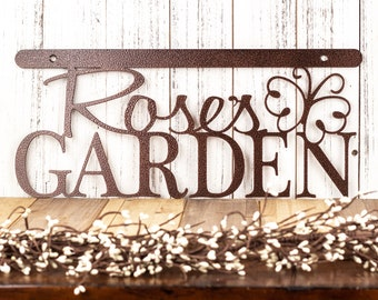 Personalized Garden Sign for Mother's Day | Garden Decor in Laser Cut Metal | Choice of Dragonfly, Butterfly, Bumble Bee, or Ladybug