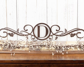 "Monogram Metal Sign | Custom Sign | Personalized Sign | Metal Wall Art | Metal Wall Decor | Steel Sign | 28.4""W x 6""H 