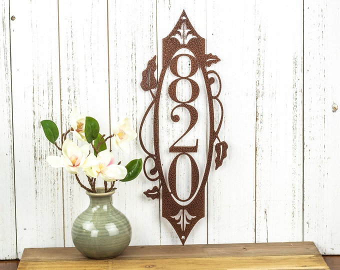 Custom Address Sign, Metal with Personalized House Numbers Outdoor Plaque, New Home Gift, Vertical Laser Cut Steel, 6in x 16in, 3 digit