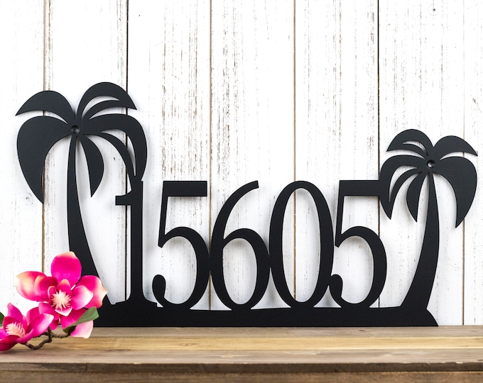 Palm Tree Address Sign | Palm Tree House Number Sign | Metal Sign | Metal Wall Art | Outdoor Address | House Numbers