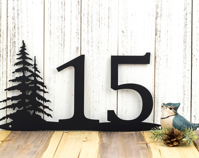 Rustic House Number   Pine Trees   Metal Sign   House Numbers   Address Sign   Address Plaque   Custom Metal Sign   Outdoor   Custom Sign