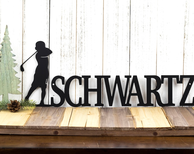 Personalized Golf Name Sign | Boy Golfer | Metal Wall Art | Golf Sign | Metal Sign | Custom Sign | Personalized Sign