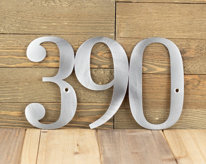 House Numbers Metal Sign, Outdoor Address Plaque in Laser Cut Steel, Housewarming Gift, Custom Wall Hanging, 9in x 5.25in, 3 Digit