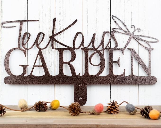 Custom Garden Sign Metal Outdoor Decor | Personalized Sign | Garden Decor | Metal Garden Art | Garden Plaque | Name Sign | Dragonfly