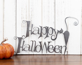 Happy Halloween Metal Sign | Cat | Halloween Sign | Sign | Halloween Decor | Outdoor Sign | Metal Wall Art | Wall Hanging