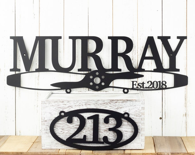 Family Last Name Metal Sign, Metal House Number Sign, Airplane Propeller, Aviation Gift