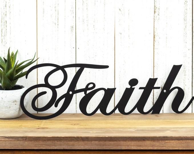 "Faith Metal Wall Art | 14.5""W x 4.5""H | Faith Sign | Spiritual | Religious | Inspirational | Metal Sign | Wall Decor"